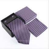 Silk Polyester Woven Smooth Tie Classic Man's Purple Blue Stripe Business Wedding Ties for Men