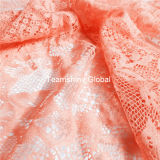 Watermelon Red Nylon Dreamlike Swiss Lace Fabric (NF1008)