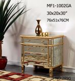 Living Room 3 Drawer Golden & Silvery Mirrored Furniture