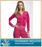 Promotional Women′s Lightweight Zip-up Tracksuit with Velvet Fabric