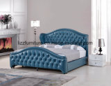 Luxury Bedroom Furniture Modern Leather Soft Bed with Button