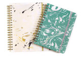 Simple design Hard Cover Spiral Notebook Elastic Band Closure Planner with Printed Inset Sheet