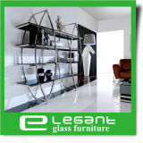Glass Bookshelf with Stainless Steel Frame