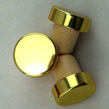 Shiny Golden Top Natural Cork Wine Stopper