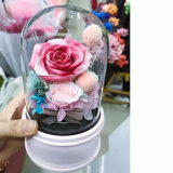Real Pink Flowers on Rotating Music Box Base for Decoration Crafts Toys Gifts