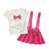 Custom Pinafore Ruffles Shoulder Straps 2-12 Years Baby Girls Dress with T-Shirt
