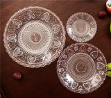 3PCS Clear Transparent Embossment Glass Plate Dinnerware