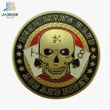 Free Sample Enamel Dead Man Skull Poker Custom Gold Coin