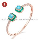 Gems Stone Silver or Brass Bangle with Green Enamel Fashion Silver Jewellery
