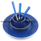 Kitchenware Table Set Outdoor Camping Cup Saucer Plate Hiking Tools Soild Color with Stainless Rim