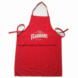 China Factory OEM Custom Logo Printed PVC Promotional Cheap Red Kitchen Pinafore Aprons