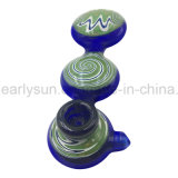 Three Layers Circular Green Colored Platform Glass Hand Pipe (ES-HP-175)