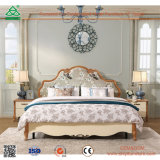 Home Bedroom Furniture Oak Wood Double Bed with Bar Headboard