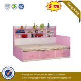 Pink Girl's Single Bed with Bookshelf Simple High Box Double Storage Children's Bed