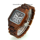 Men′s Square Multifunctional Chrono Wood Watch 3ATM Water Resistant