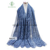 Lady Fashion Silk Scarf with Ribbon Embroidery Lace Shawl