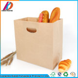 Eco-Friendly Kraft Paper Bread Food Packaging Bag with Die Cut Handle
