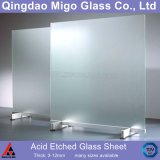 3-12mm Flat Clear Acid Etched Glass Sheets