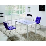 Extend Morden White Tempered Glass Dining Table Set