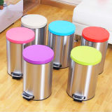 Round Stainless Steel Metal Garbage Can