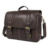 Amazon Hot Selling Good Quality Brown Real Leather Laptop Bag Briefcase Leather Messenger Bag