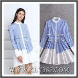 European Style Women Fashion Spring Autumn Cotton Long Sleeve Casual Shirt Dress