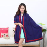 Lady Fashion Acrylic Woven Fringed Jacquard Shawl (YKY4436)
