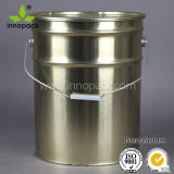 20L Yellow Coated Metal Tin Bucket with Lid and Handle