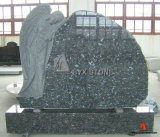 Blue Pearl Granite Angel Design Carving Headstone, Stone Monument