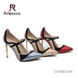 Lady Ankle Strap Pupms Leather with PVC Stilettos Shoes Wholesale