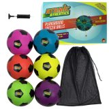 Rubber Footballs - 6 Pack of Youth Size Balls with Pump & Carrying Bag Rugby Ball