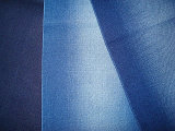 Cotton Blenched Slub Twill Stretch Denim Fabric Indigo Dark Blue