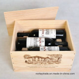 Good Quality Solid Wood Box for 6 Bottles Wine, 25 Oz. /Bottle