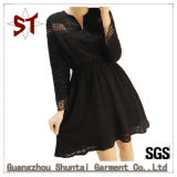 Wholesale Women Casual Black Hollow Long Sleeve Dress