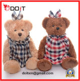 2 Colors Vintage Plush Teddy Bear with Check Clothes