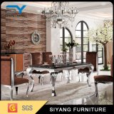 Old Furniture Stainless Steel Marble Dining Table Set