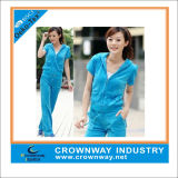 Ladies Soft Short Sleeves Sports Velvet Suit with Hoody