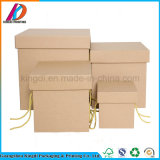 Square Portable Brown Kraft Paper Packing Box with Handle