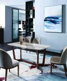 Walnut Dining Table with Grey Natural Marble Mt1206