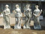 Outdoor Garden Life-Size Four Season Marble Statue Woman Stone Sculpture