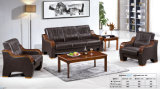 Leisure Popular Hotel Waiting Office Leather Sofa with Wooden Armrest