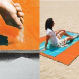 Sand Free Folding Picnic Blanket Rug Straw Beach Mat Chair Cushion