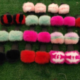 Cheap Fashionable Beach Plush Fox Fur Slippers Slides for Girl Women