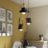 Antique Brass and Wood Drop Pendant Lamp
