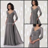 Gray Evening Dress V-Neck Half Sleeves Lace Chiffon Mother Dress Yao10317