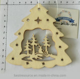 Handmade Wooden Carving Craft Xmas Tree Hanging Ornament for Christmas and Home Decoration