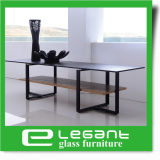 Modern Bent Glass TV Stand with Stainless Steel Base