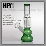 Wholesale in Stock Green Round Base with Glass Percolator Percs Shisha Hookah Smoking Pipes Water Pipe
