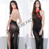 Wholesale Sexy Long Backless Dress with Black Transparent Mesh for Lady