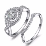 925 Sterling Silver Jewelry Cheap Engagement Wedding Ring Set for Couple Wholesale